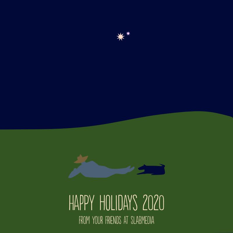 holiday card man and dog watching saturn and jupiter