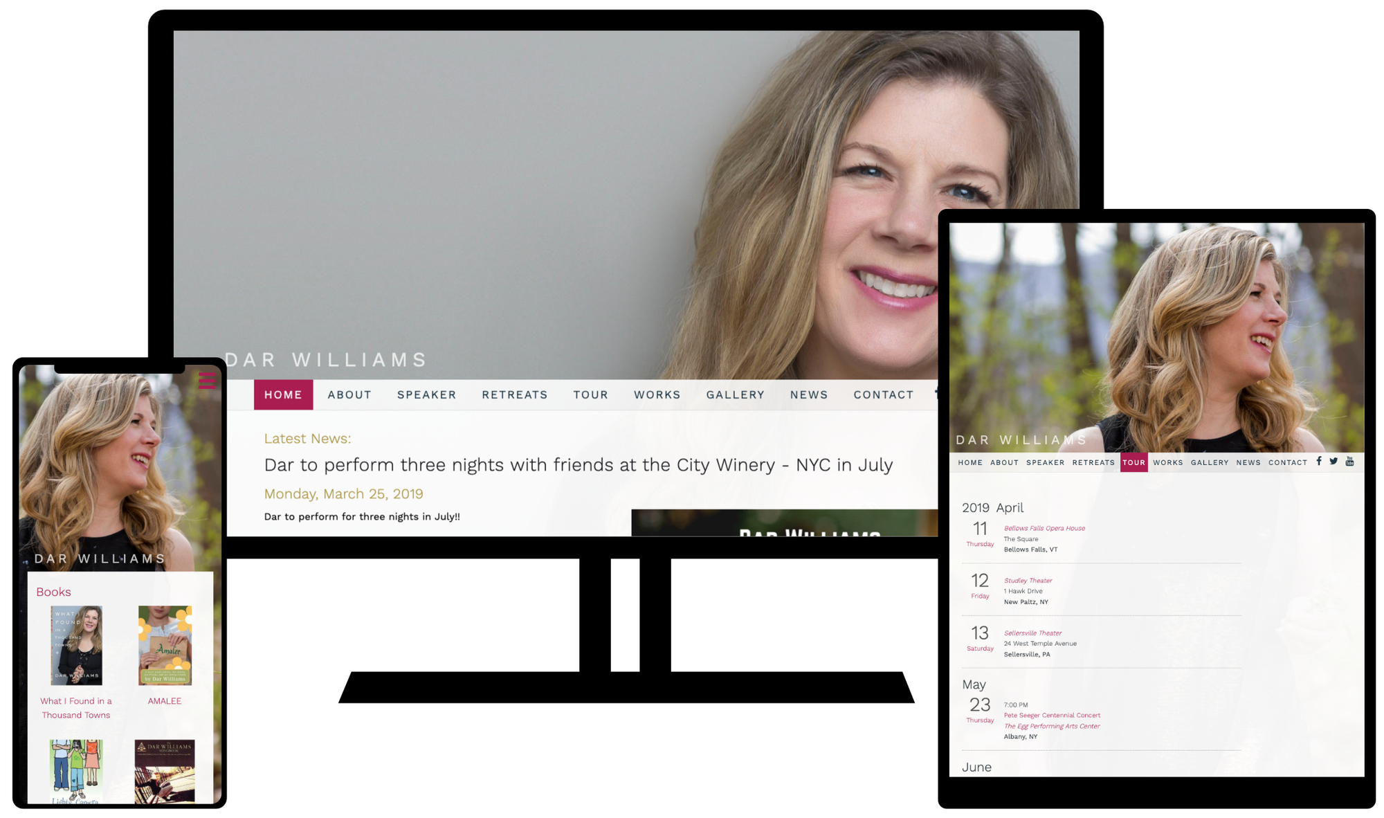 Dar Williams Website on mobile, tablet, and desktop