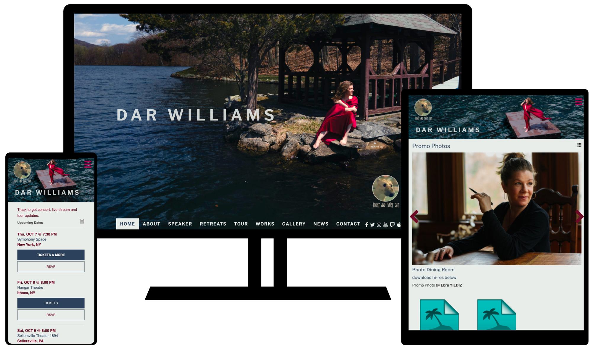 Dar Williams Website on mobile, tablet, and desktop