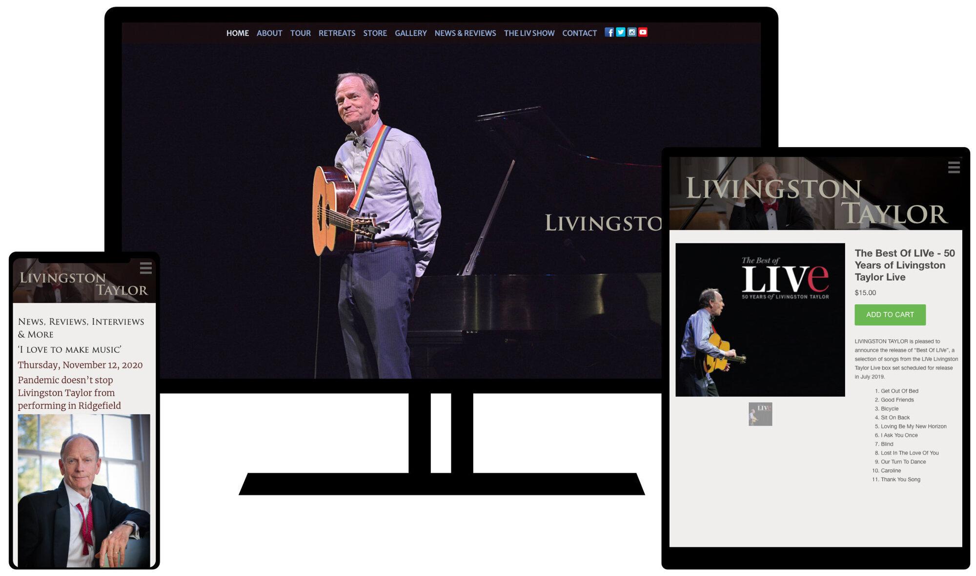 Livingston Taylor's website on multiple screens