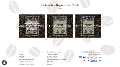New Shopify website for JP Licks focusing on Coffee Beans sales